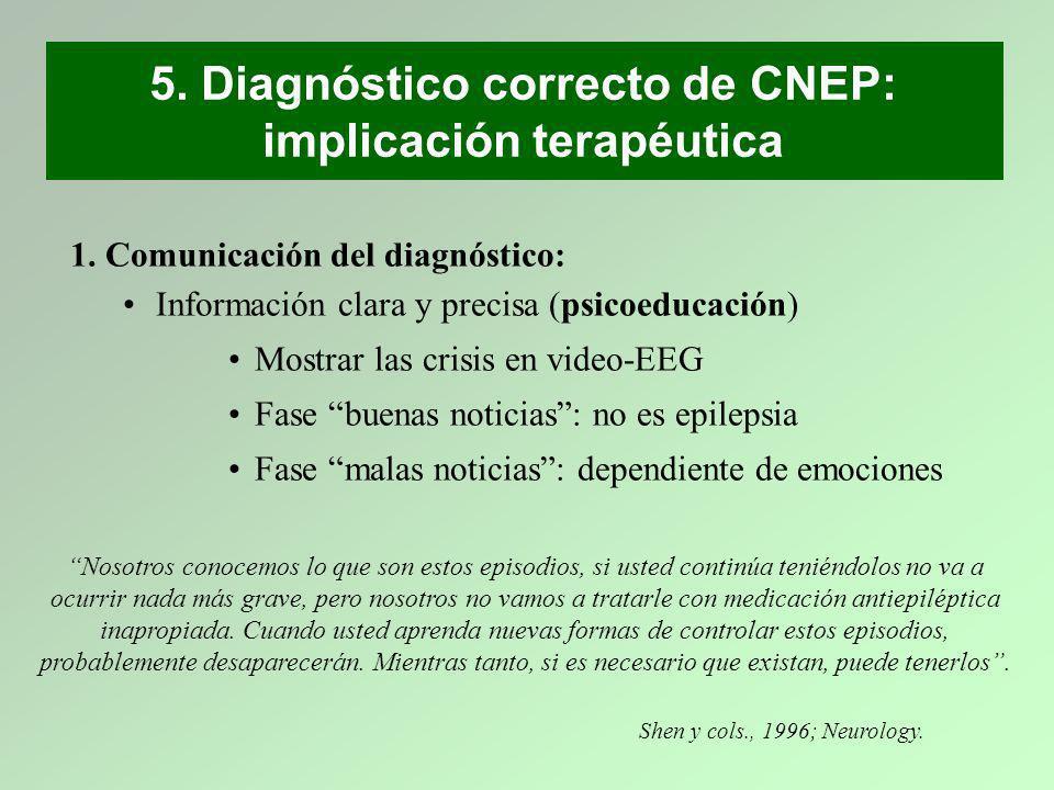 5. Diagnóstico correcto de CNEP: implicación terapéutica 1. Comunicación del diagnóstico: Información clara y precisa (psicoeducación) Mostrar las cri