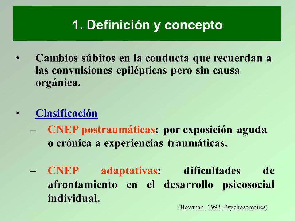 Cambios súbitos en la conducta que recuerdan a las convulsiones epilépticas pero sin causa orgánica. Clasificación –CNEP postraumáticas: por exposició