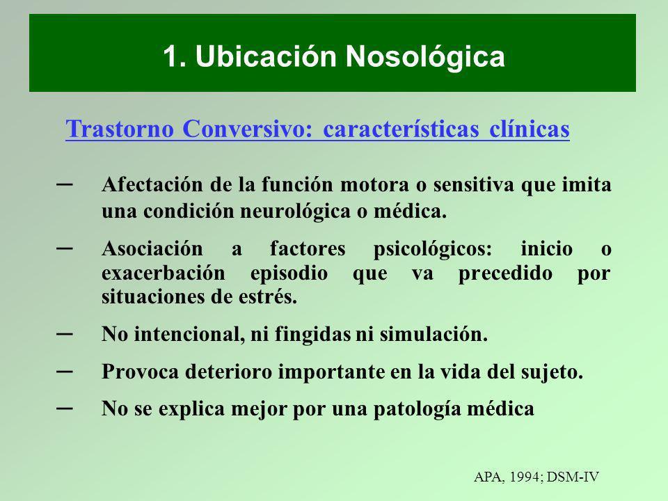 Afectación de la función motora o sensitiva que imita una condición neurológica o médica. Asociación a factores psicológicos: inicio o exacerbación ep