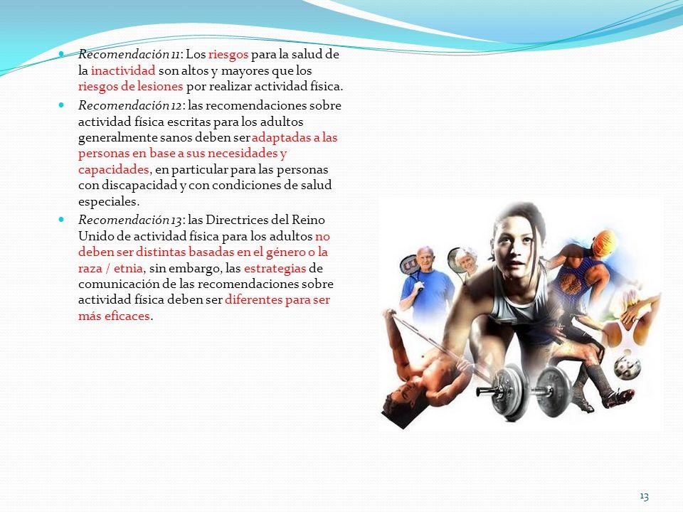 Recomendación 11: Los riesgos para la salud de la inactividad son altos y mayores que los riesgos de lesiones por realizar actividad física. Recomenda