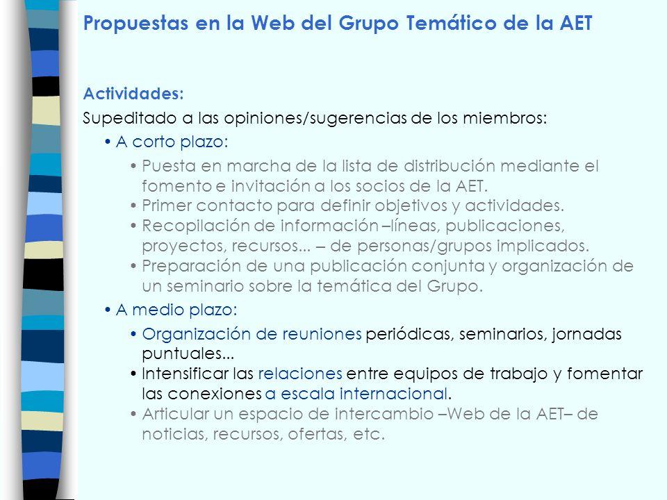 Propuestas en la Web del Grupo Temático de la AET Actividades: Supeditado a las opiniones/sugerencias de los miembros: A corto plazo: Puesta en marcha