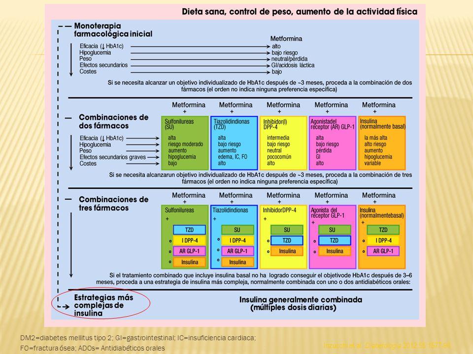 Inzucchi et al. Diabetología 2012;55:1577-96 DM2=diabetes mellitus tipo 2; GI=gastrointestinal; IC=insuficiencia cardiaca; FO=fractura ósea; ADOs= Ant