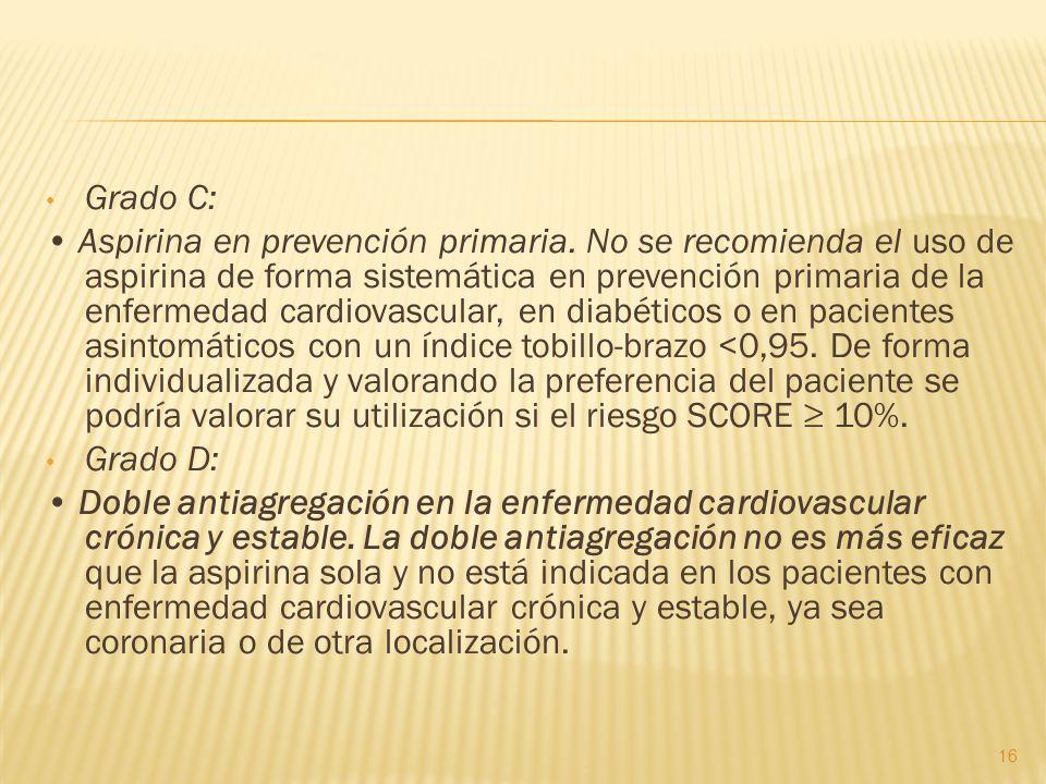 Grado C: Aspirina en prevención primaria. No se recomienda el uso de aspirina de forma sistemática en prevención primaria de la enfermedad cardiovascu