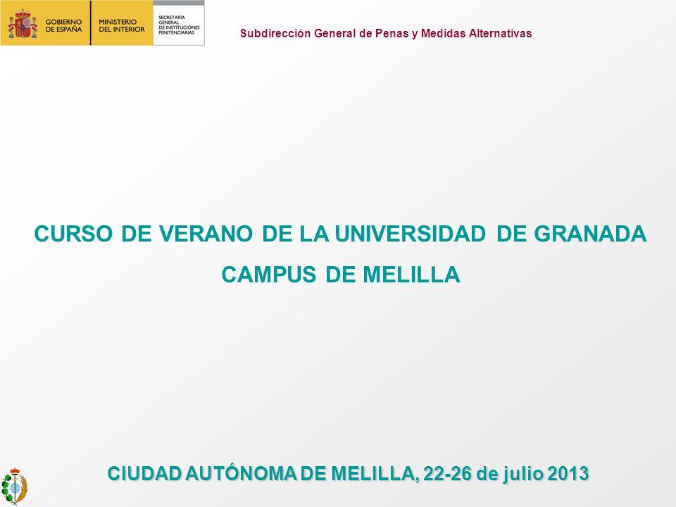 Subdirección General de Penas y Medidas Alternativas CURSO DE VERANO DE LA UNIVERSIDAD DE GRANADA CAMPUS DE MELILLA CIUDAD AUTÓNOMA DE MELILLA, 22-26 de julio 2013