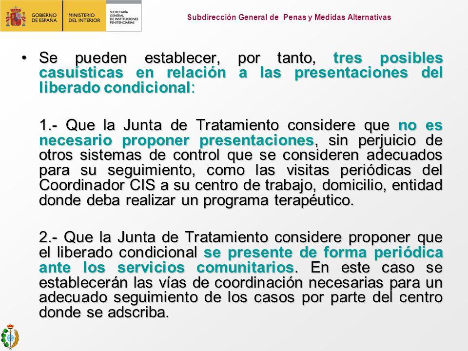Se pueden establecer, por tanto, tres posibles casuísticas en relación a las presentaciones del liberado condicional:Se pueden establecer, por tanto,