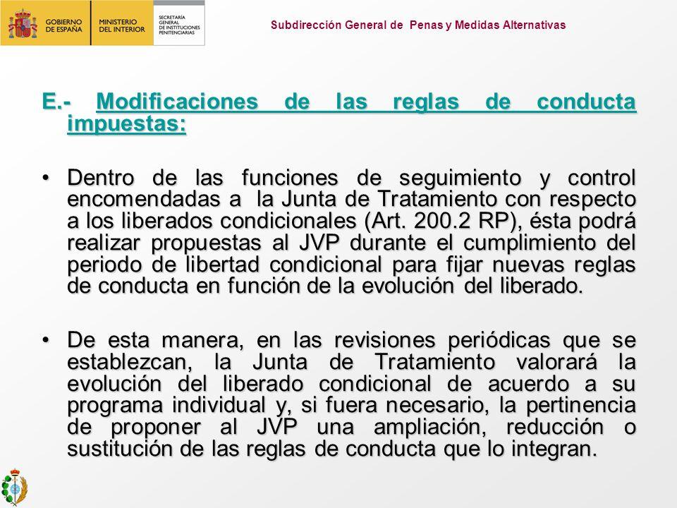E.- Modificaciones de las reglas de conducta impuestas: Dentro de las funciones de seguimiento y control encomendadas a la Junta de Tratamiento con respecto a los liberados condicionales (Art.
