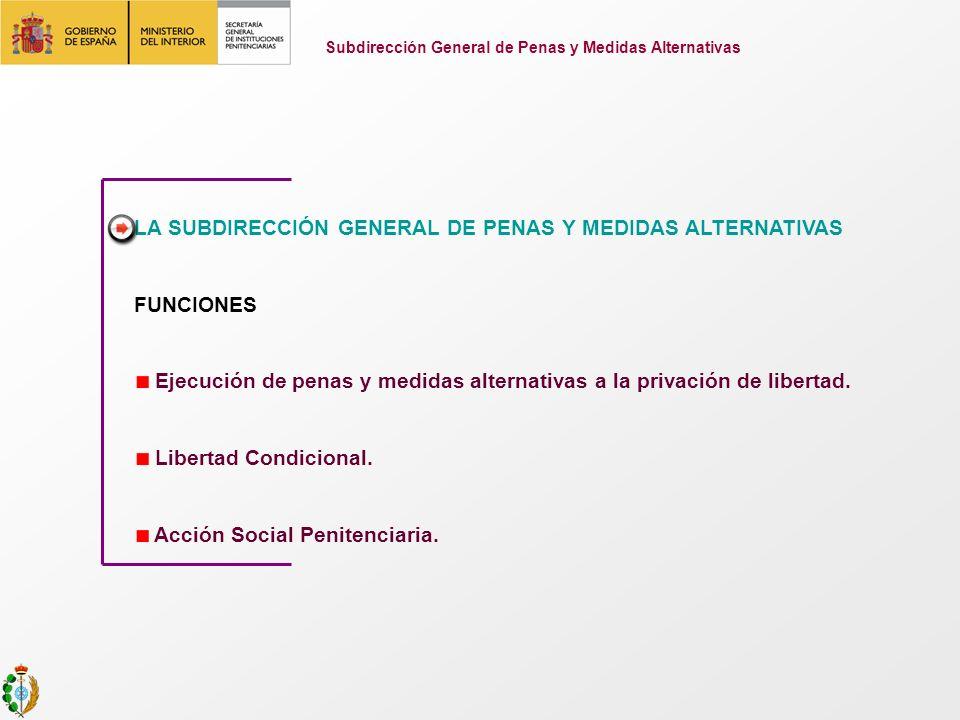 LA SUBDIRECCIÓN GENERAL DE PENAS Y MEDIDAS ALTERNATIVAS FUNCIONES Ejecución de penas y medidas alternativas a la privación de libertad. Libertad Condi
