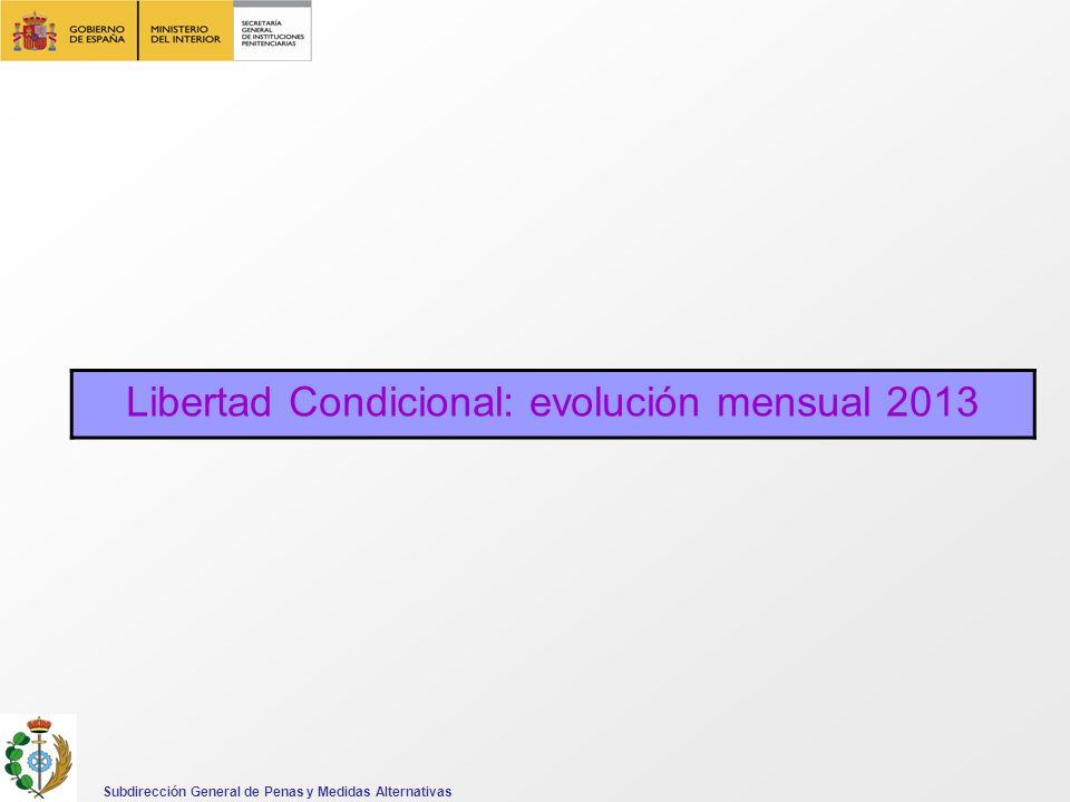 Libertad Condicional: evolución mensual 2013 Subdirección General de Penas y Medidas Alternativas