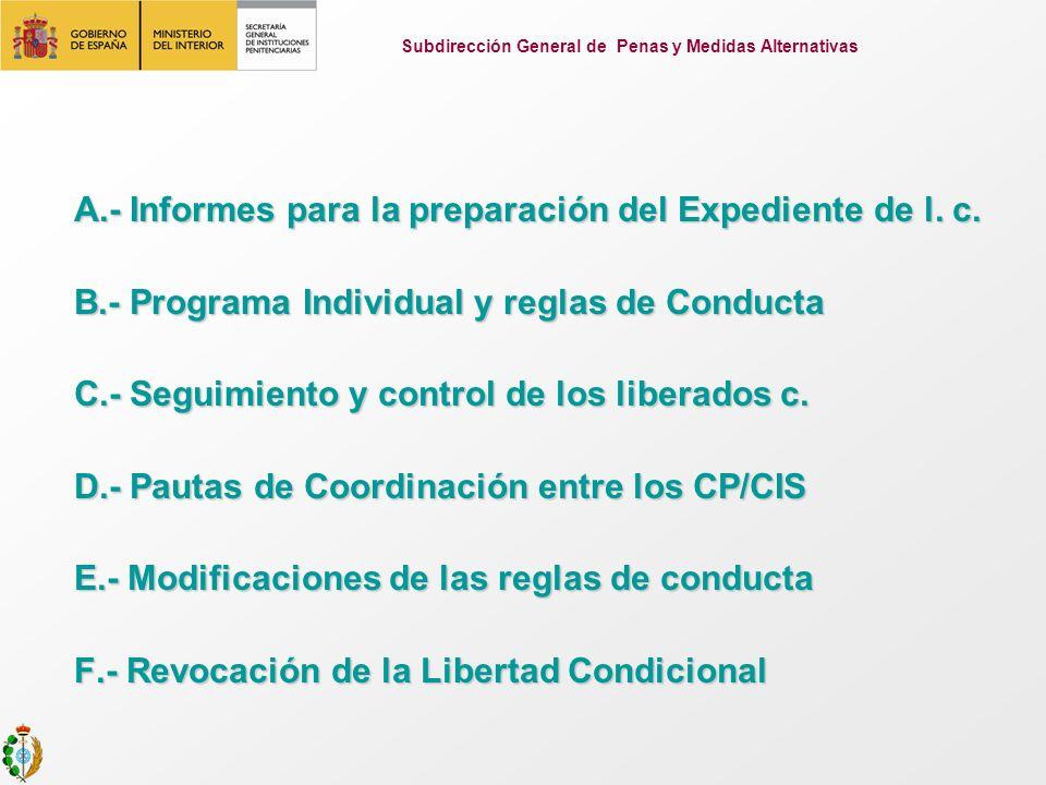 A.- Informes para la preparación del Expediente de l. c. A.- Informes para la preparación del Expediente de l. c. B.- Programa Individual y reglas de