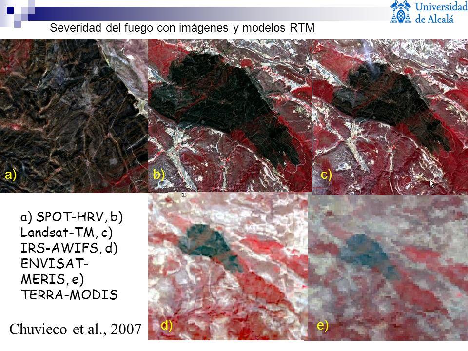 a) SPOT-HRV, b) Landsat-TM, c) IRS-AWIFS, d) ENVISAT- MERIS, e) TERRA-MODIS a)b)c) d)e) Chuvieco et al., 2007 Severidad del fuego con imágenes y model