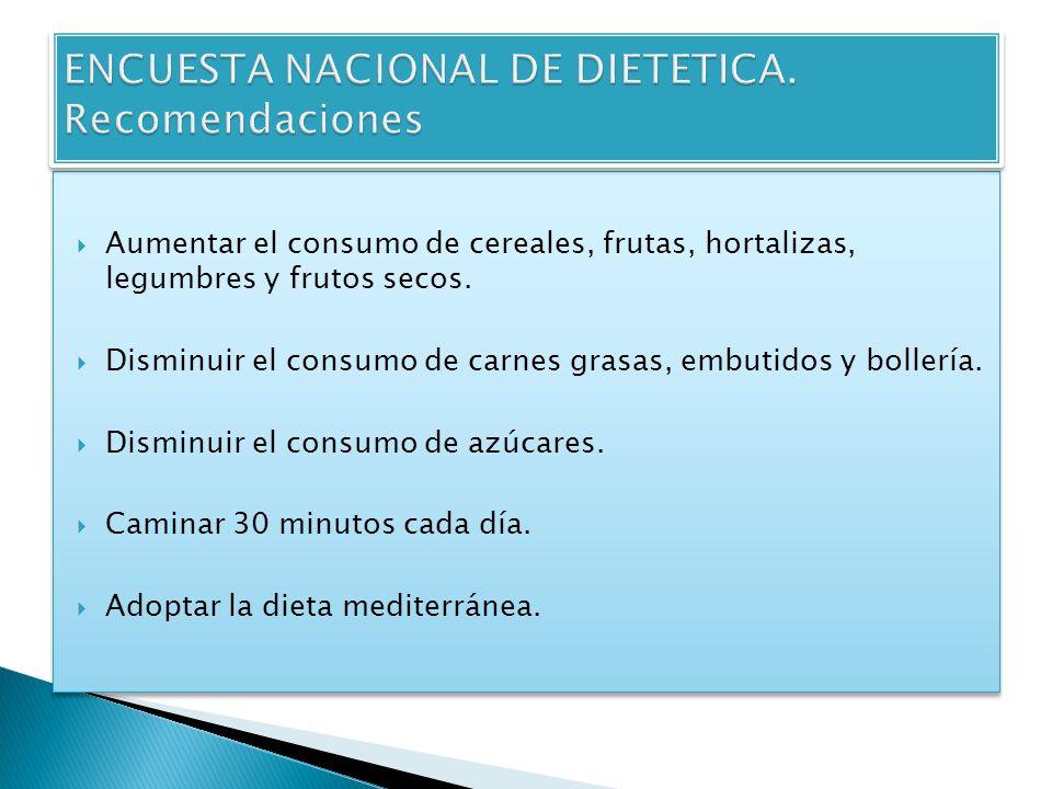 Aumentar el consumo de cereales, frutas, hortalizas, legumbres y frutos secos. Disminuir el consumo de carnes grasas, embutidos y bollería. Disminuir