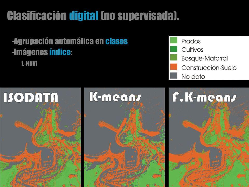 Clasificación digital (no supervisada). -Agrupación automática en clases -Imágenes índice: 1.-NDVI