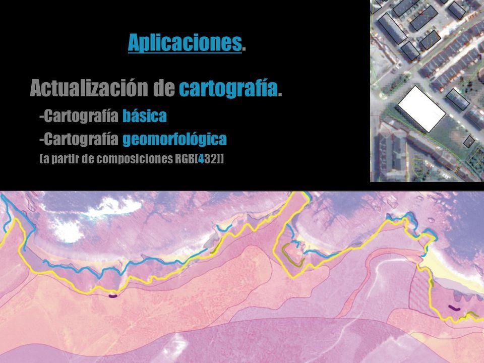 Actualización de cartografía. -Cartografía básica -Cartografía geomorfológica (a partir de composiciones RGB[432]) Aplicaciones.