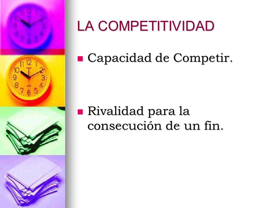 LA COMPETITIVIDAD Capacidad de Competir. Capacidad de Competir. Rivalidad para la consecución de un fin. Rivalidad para la consecución de un fin.