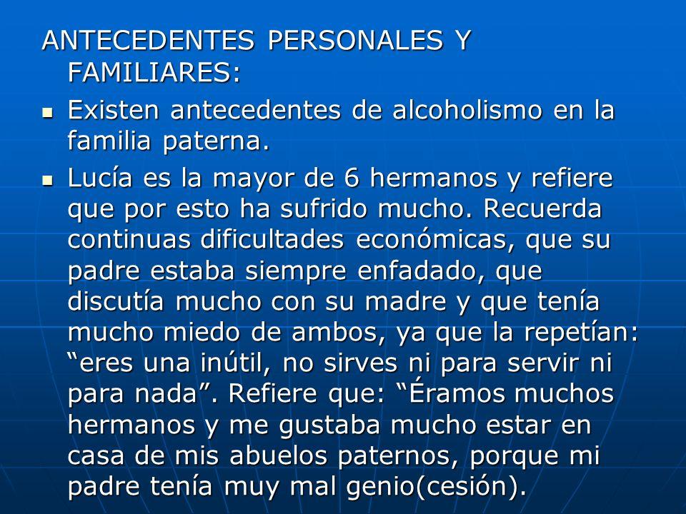 ANTECEDENTES PERSONALES Y FAMILIARES: Existen antecedentes de alcoholismo en la familia paterna. Existen antecedentes de alcoholismo en la familia pat