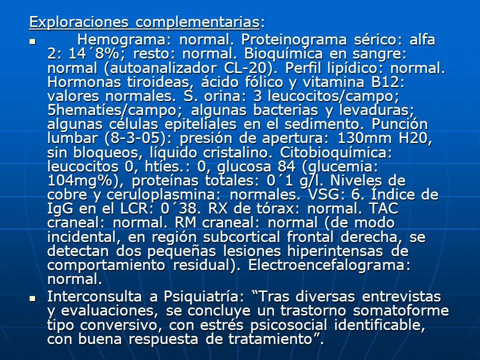 Exploraciones complementarias: Hemograma: normal. Proteinograma sérico: alfa 2: 14´8%; resto: normal. Bioquímica en sangre: normal (autoanalizador CL-