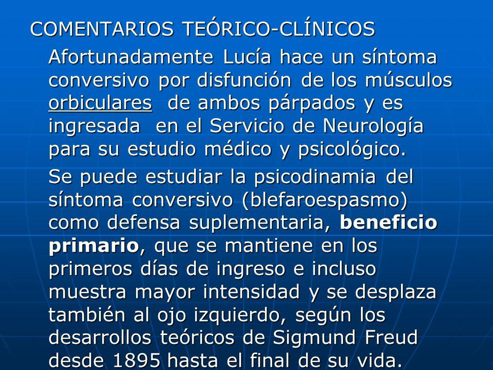 COMENTARIOS TEÓRICO-CLÍNICOS Afortunadamente Lucía hace un síntoma conversivo por disfunción de los músculos orbiculares de ambos párpados y es ingres