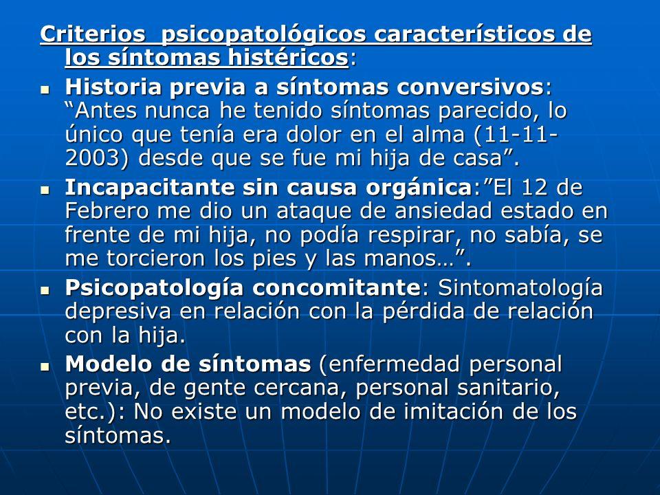 Criterios psicopatológicos característicos de los síntomas histéricos: Historia previa a síntomas conversivos: Antes nunca he tenido síntomas parecido