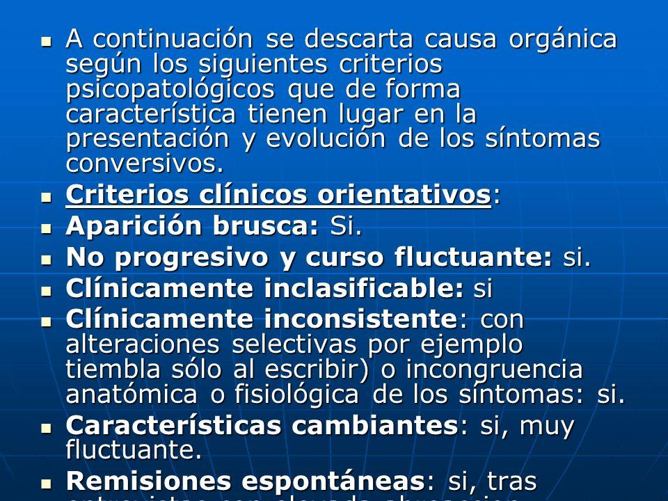 A continuación se descarta causa orgánica según los siguientes criterios psicopatológicos que de forma característica tienen lugar en la presentación