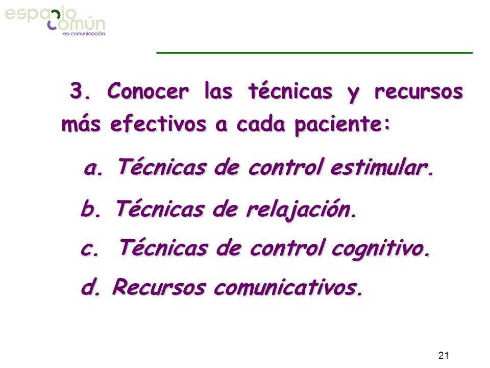 3. Conocer las técnicas y recursos más efectivos a cada paciente: a. Técnicas de control estimular. b. Técnicas de relajación. b. Técnicas de relajaci