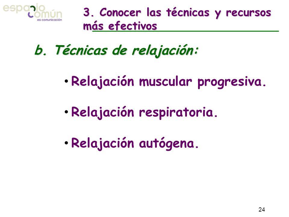 b. Técnicas de relajación: Relajación muscular progresiva. Relajación respiratoria. Relajación autógena. 3. Conocer las técnicas y recursos más efecti