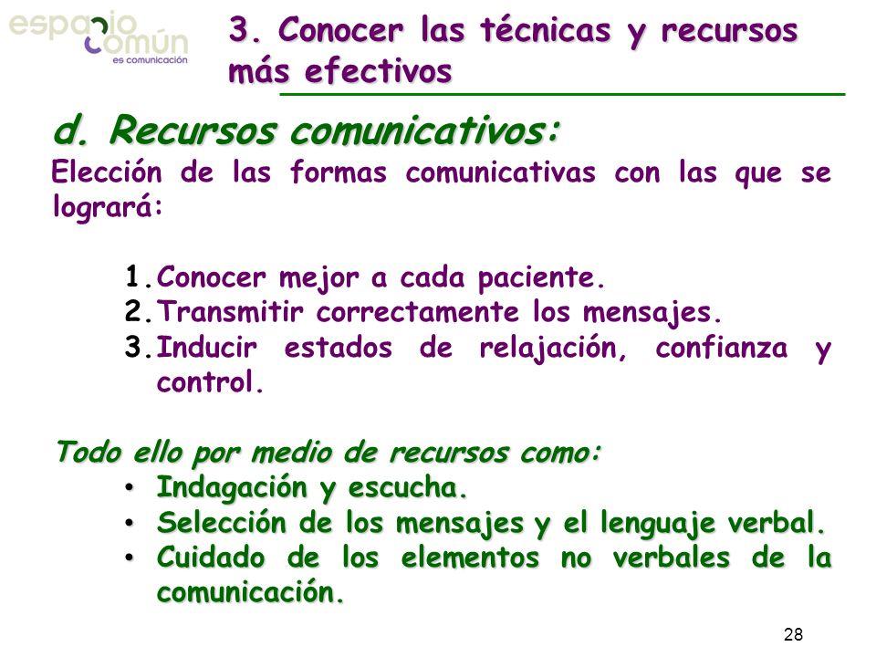 d. Recursos comunicativos: Elección de las formas comunicativas con las que se logrará: 1.Conocer mejor a cada paciente. 2.Transmitir correctamente lo