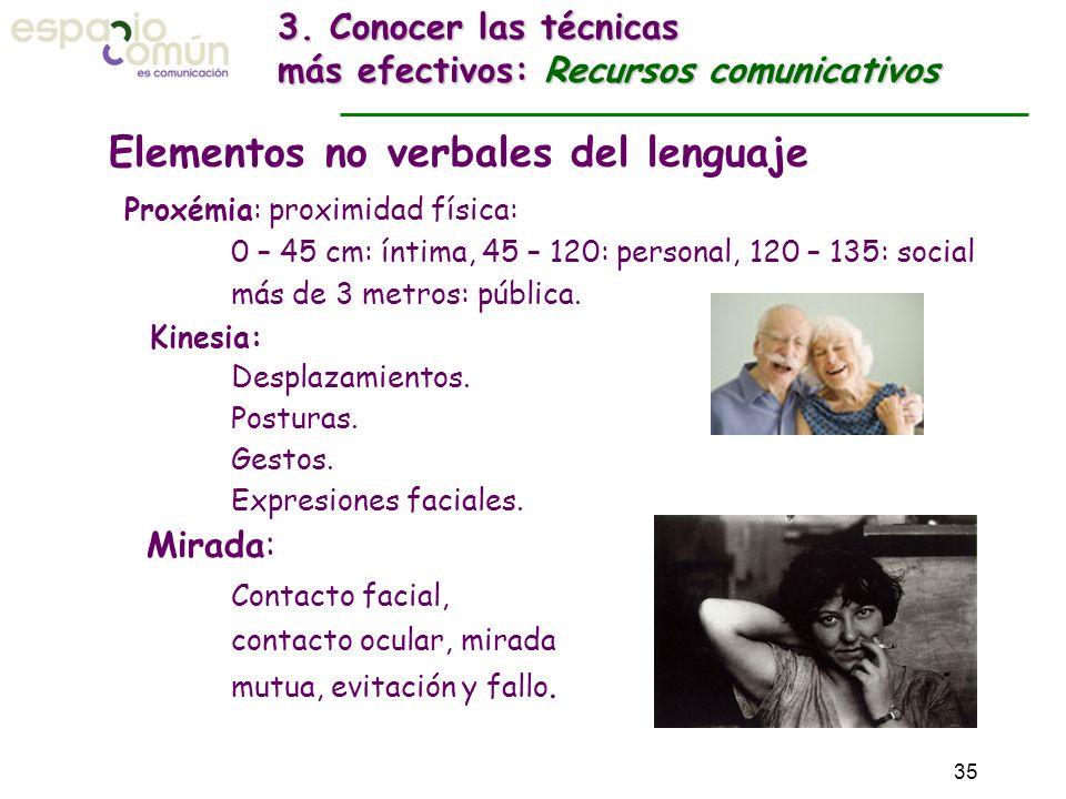 Proxémia: proximidad física: 0 – 45 cm: íntima, 45 – 120: personal, 120 – 135: social más de 3 metros: pública. Kinesia: Desplazamientos. Posturas. Ge