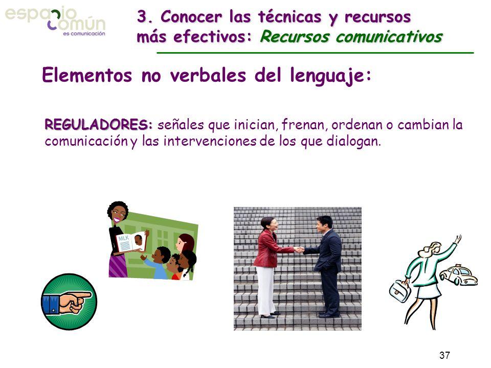 Elementos no verbales del lenguaje: REGULADORES: REGULADORES: señales que inician, frenan, ordenan o cambian la comunicación y las intervenciones de l