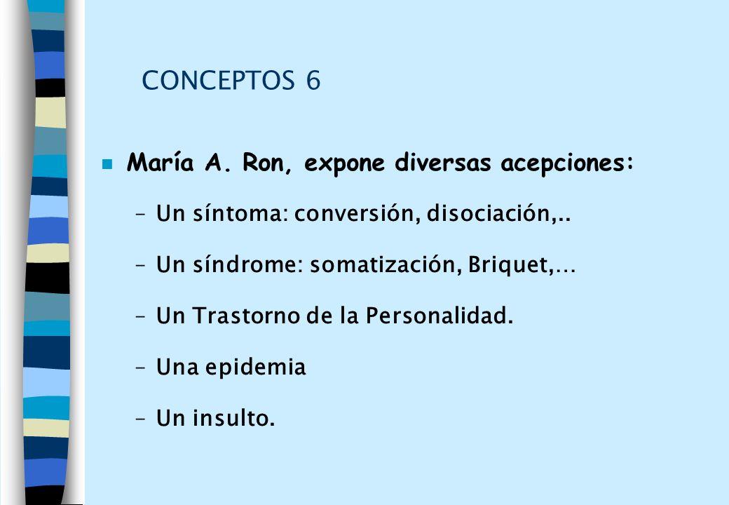 CONCEPTOS 6 n María A. Ron, expone diversas acepciones: –Un síntoma: conversión, disociación,.. –Un síndrome: somatización, Briquet,… –Un Trastorno de