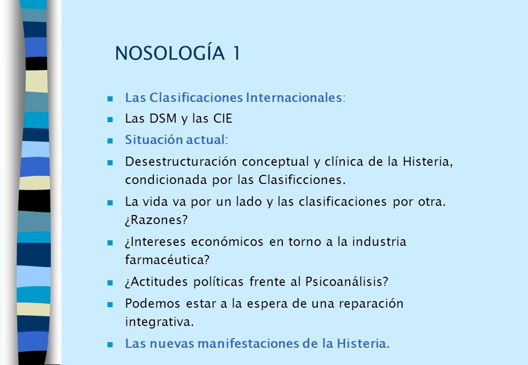 NOSOLOGÍA 1 n Las Clasificaciones Internacionales: n Las DSM y las CIE n Situación actual: n Desestructuración conceptual y clínica de la Histeria, co