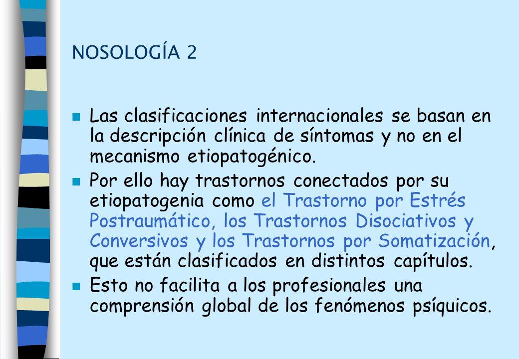 NOSOLOGÍA 2 n Las clasificaciones internacionales se basan en la descripción clínica de síntomas y no en el mecanismo etiopatogénico. n Por ello hay t