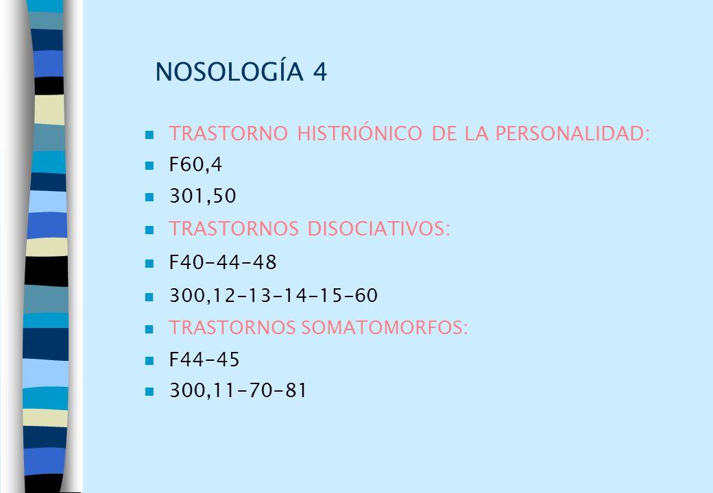NOSOLOGÍA 4 n TRASTORNO HISTRIÓNICO DE LA PERSONALIDAD: n F60,4 n 301,50 n TRASTORNOS DISOCIATIVOS: n F40-44-48 n 300,12-13-14-15-60 n TRASTORNOS SOMA