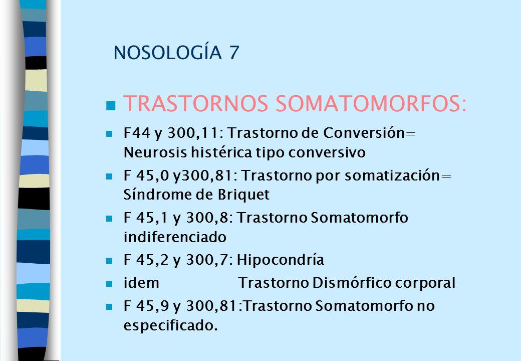 NOSOLOGÍA 7 n TRASTORNOS SOMATOMORFOS: n F44 y 300,11: Trastorno de Conversión= Neurosis histérica tipo conversivo n F 45,0 y300,81: Trastorno por som