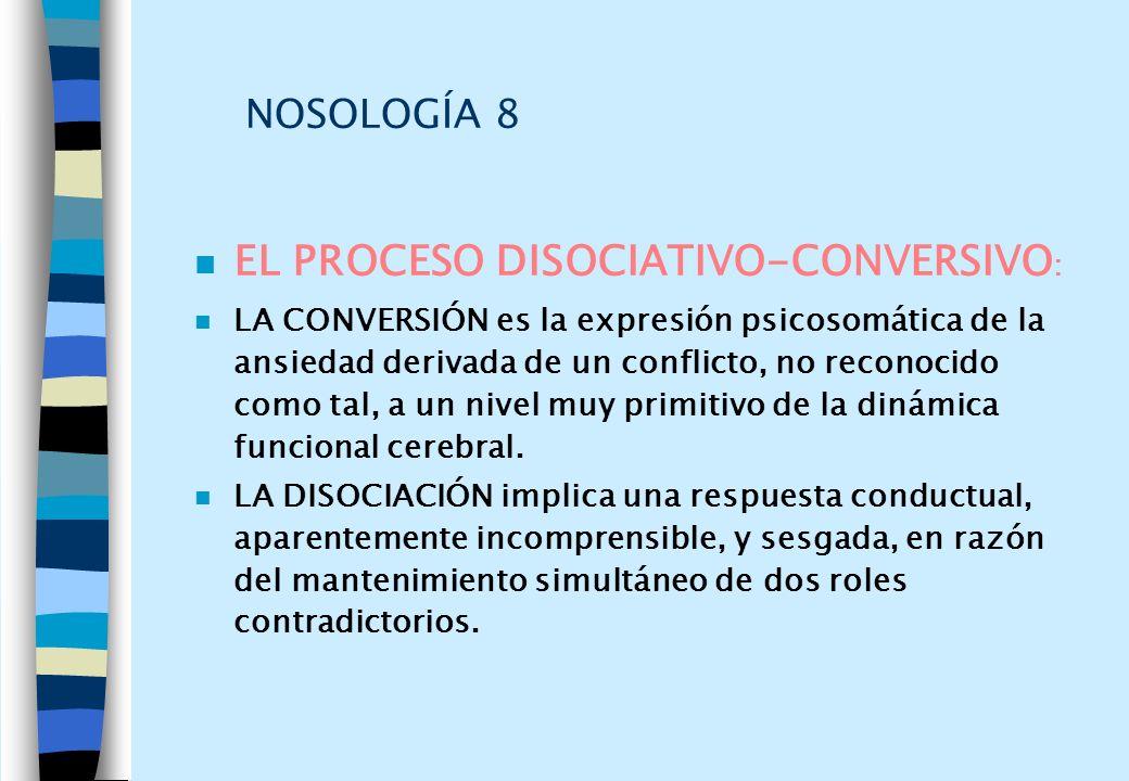 NOSOLOGÍA 8 n EL PROCESO DISOCIATIVO-CONVERSIVO : n LA CONVERSIÓN es la expresión psicosomática de la ansiedad derivada de un conflicto, no reconocido
