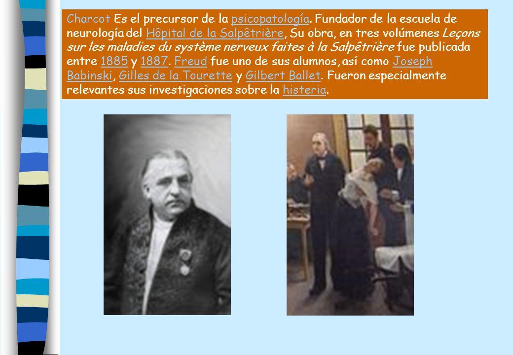 Charcot Es el precursor de la psicopatología. Fundador de la escuela de neurología del Hôpital de la Salpêtrière, Su obra, en tres volúmenes Leçons su