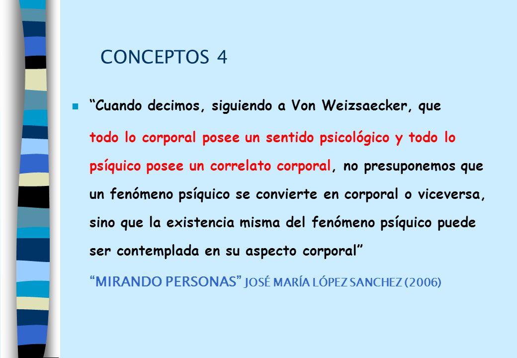 CONCEPTOS 4 n Cuando decimos, siguiendo a Von Weizsaecker, que todo lo corporal posee un sentido psicológico y todo lo psíquico posee un correlato cor