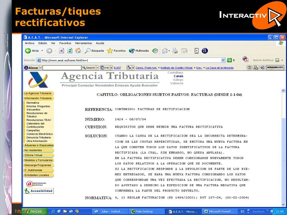 http://www.interactiva.com.es © 2004 Interactiva 20 Facturas/tiques rectificativos