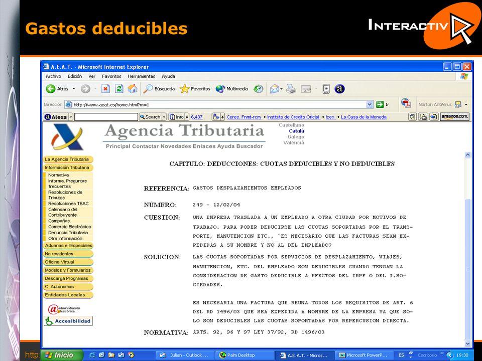 http://www.interactiva.com.es © 2004 Interactiva 6 Gastos deducibles