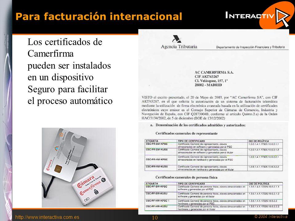 http://www.interactiva.com.es © 2004 Interactiva 9 Prestadores Homologados