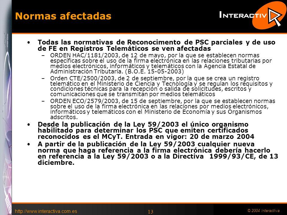 http://www.interactiva.com.es © 2004 Interactiva 12 Ley 59/2003 de Firma Electrónica Aspectos criticables –DNI Digital –Reconocimiento a Prestadores q