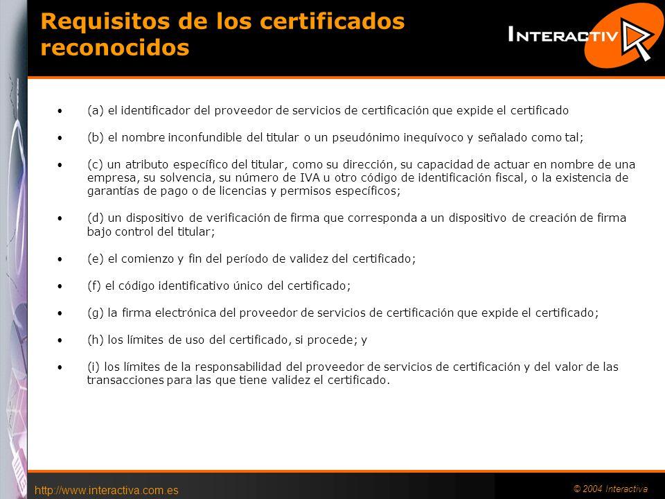 http://www.interactiva.com.es © 2004 Interactiva 20 AECODI http://www.aecodi.org/ Asociación de Entidades para la Confianza Digital, la primera inicia