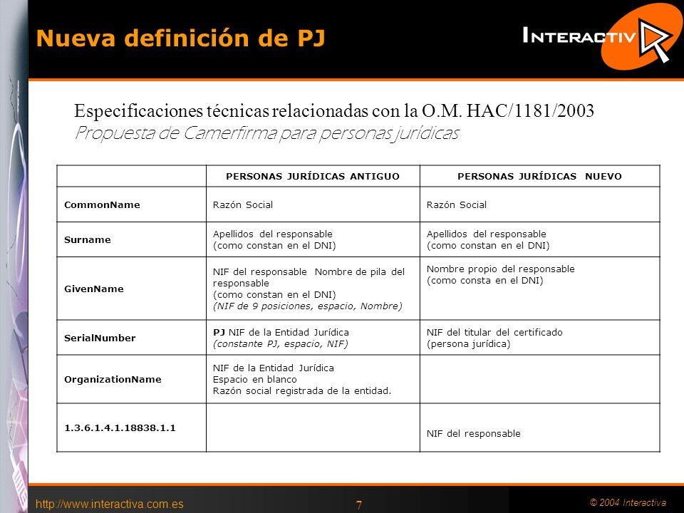 http://www.interactiva.com.es © 2004 Interactiva 6 Especificaciones técnicas relacionadas con la O.M. HAC/1181/2003 PERSONAS FÍSICASPERSONAS JURÍDICAS