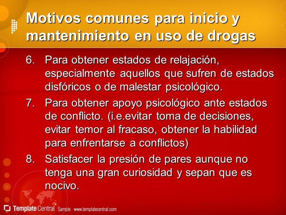 Motivos comunes para inicio y mantenimiento en uso de drogas 6.Para obtener estados de relajación, especialmente aquellos que sufren de estados disfór