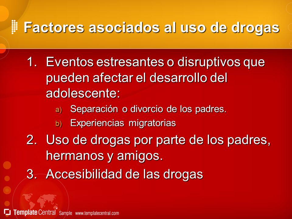 Factores asociados al uso de drogas Factores asociados al uso de drogas 1.Eventos estresantes o disruptivos que pueden afectar el desarrollo del adole