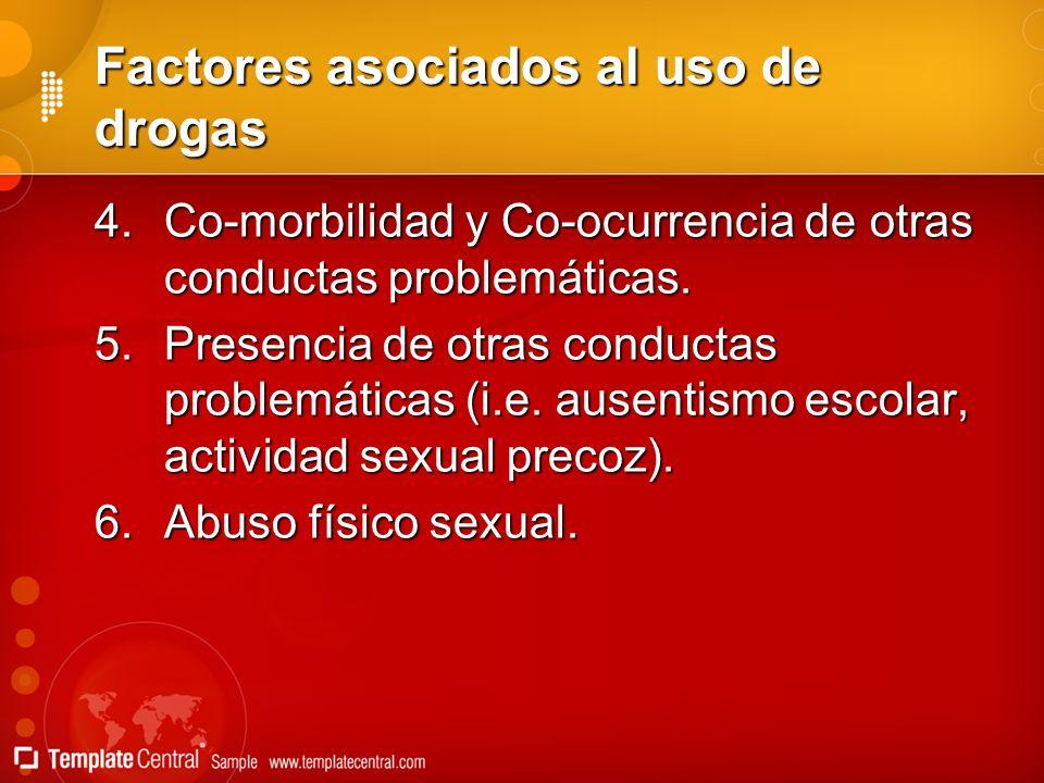 Factores asociados al uso de drogas 4.Co-morbilidad y Co-ocurrencia de otras conductas problemáticas. 5.Presencia de otras conductas problemáticas (i.