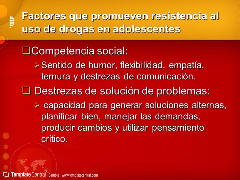 Factores que promueven resistencia al uso de drogas en adolescentes Competencia social: Competencia social: Sentido de humor, flexibilidad, empatía, t