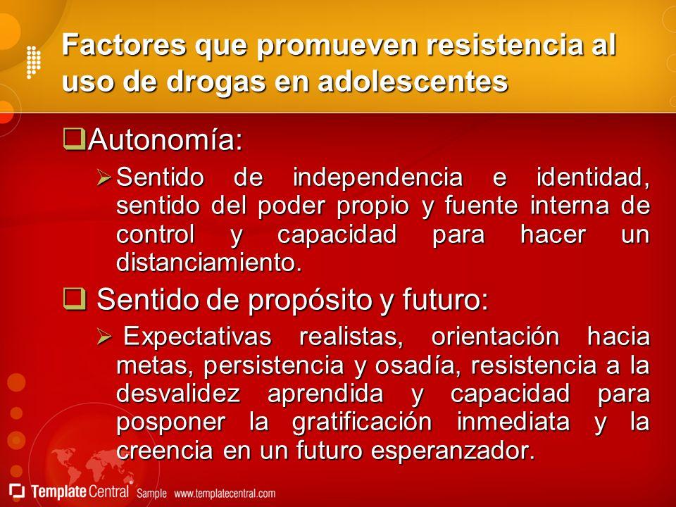 Factores que promueven resistencia al uso de drogas en adolescentes Autonomía: Autonomía: Sentido de independencia e identidad, sentido del poder prop