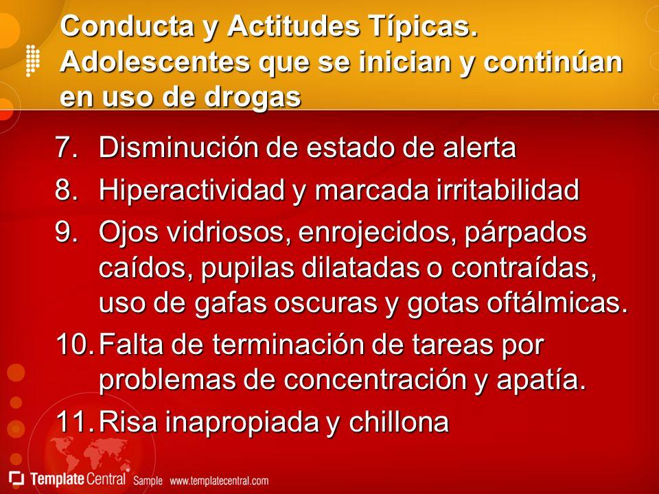 Conducta y Actitudes Típicas. Adolescentes que se inician y continúan en uso de drogas 7.Disminución de estado de alerta 8.Hiperactividad y marcada ir