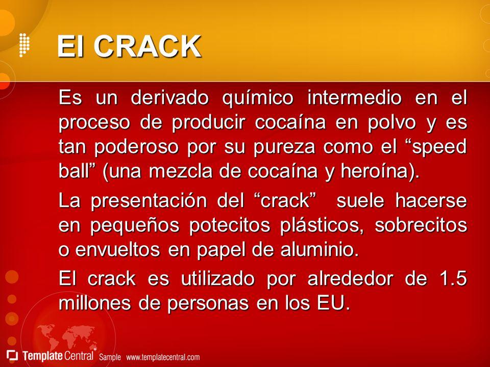 El CRACK Es un derivado químico intermedio en el proceso de producir cocaína en polvo y es tan poderoso por su pureza como el speed ball (una mezcla d