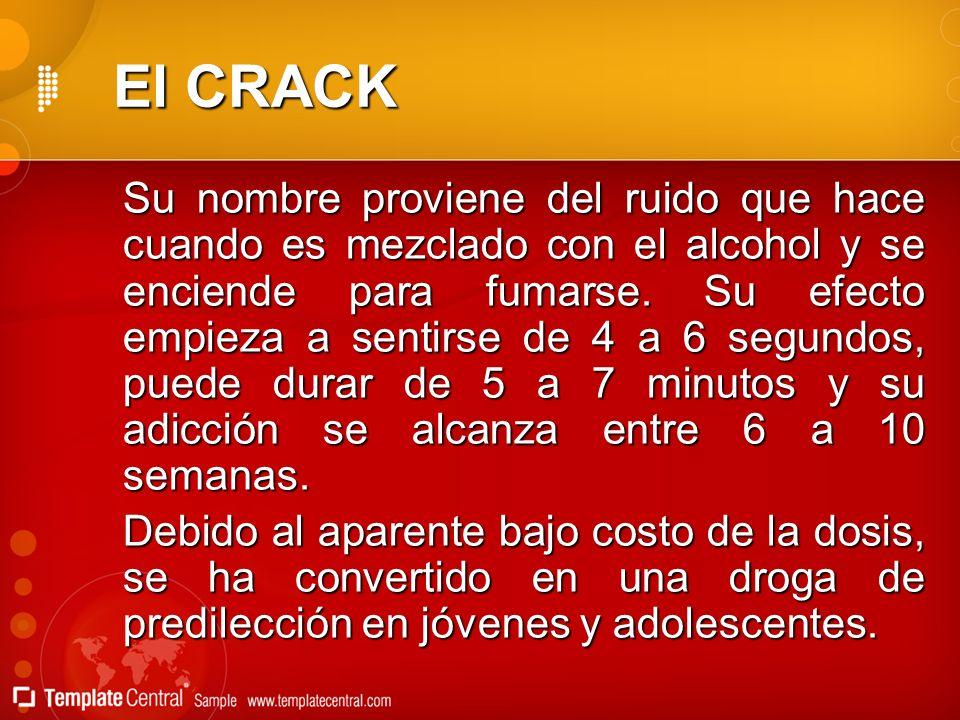 El CRACK Su nombre proviene del ruido que hace cuando es mezclado con el alcohol y se enciende para fumarse. Su efecto empieza a sentirse de 4 a 6 seg